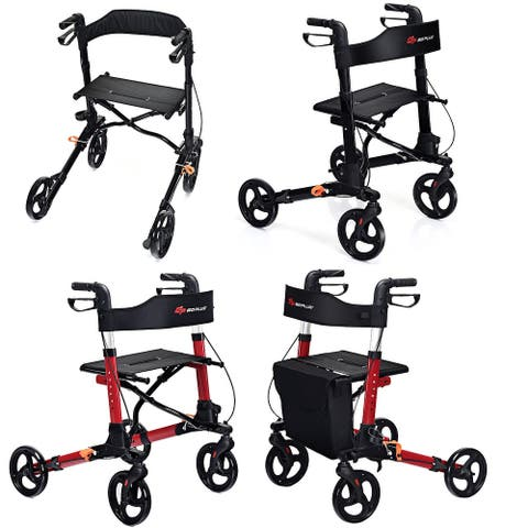 Goplus Folding Medical Rollator Lightweight Aluminum Walker Seniors w