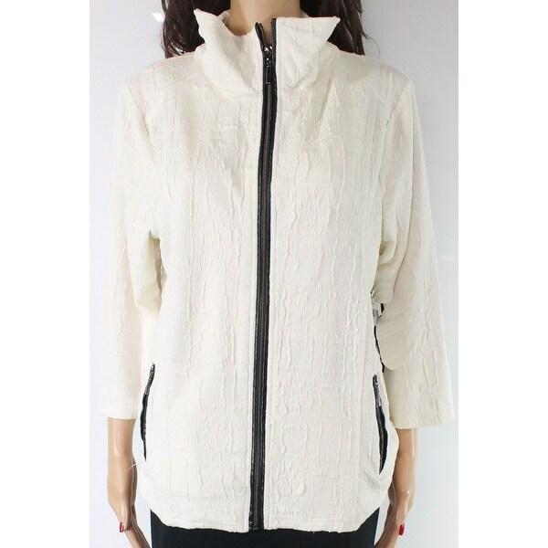 Sportelle Women's Jacket Cream Beige Size XL Textured Zip Front