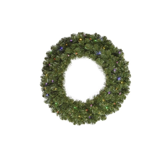 "36"" Pre-Lit Double-Sided Grand Teton Artificial Christmas Wreath - Multi LED - green"