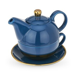 Addison Dark Blue and Gold Tea for One Set by Pinky Up®