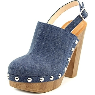 INC International Concepts Ashmee Women Open Toe Canvas Blue Platform Heel