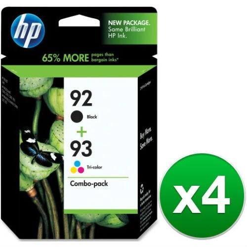 HP 92 Black & 93 Tri-color 2 Original Ink Cartridges (C9513FN) (4-Pack)