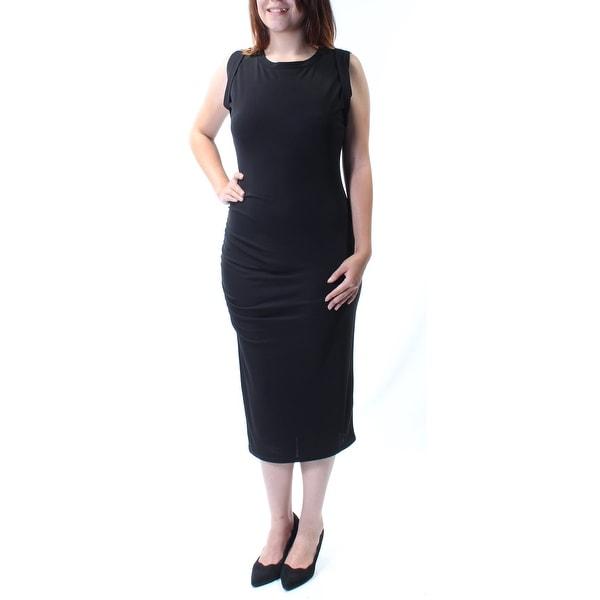 Shop Bar Iii Womens Black Sleeveless Jewel Neck Midi Sheath Dress