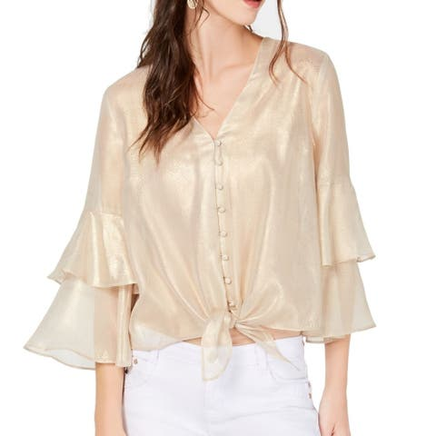 INC Women's Blouse Gold Size Small S Snake Print Ruffle Tiered Sleeve
