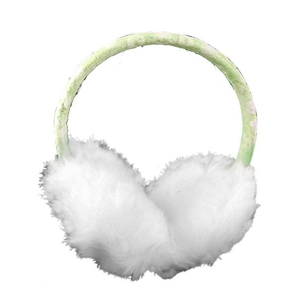 Unique Bargains Lady Winter Plush Coated Rim Earlap Earmuffs Wht Green