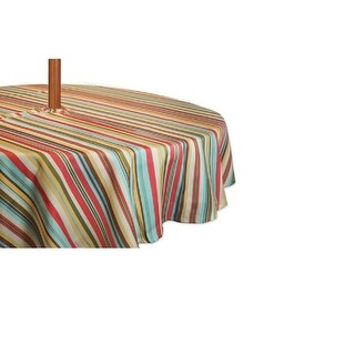 "Colorful Striped Zippered Round Umbrella Tablecloth 60"" Diameter"
