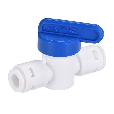 """Ball Valve Quick Connect Fitting 1/4"""" Tube OD for Water Purifiers Blue and White"""