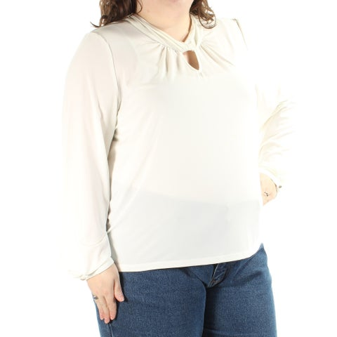 TAHARI Womens Ivory Cut Out Long Sleeve Jewel Neck Top Plus Size: 3X