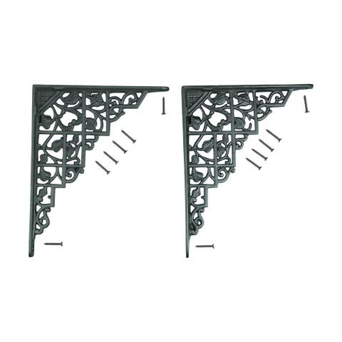 Pair Shelf Brackets Black Aluminum 7 X 8 3/4 Renovator's Supply