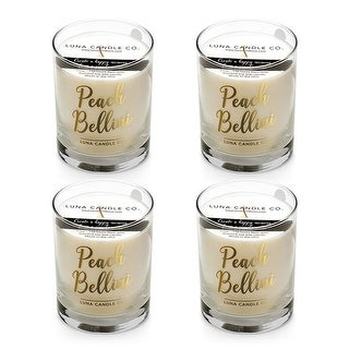 Peach Belini Candle, Hints of Apricot, Mango, Jasmine, USA (4 Pack)