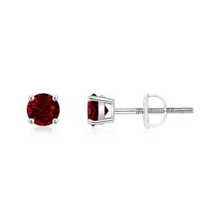 Angara Basket Set Round Genuine Ruby Stud Earrings