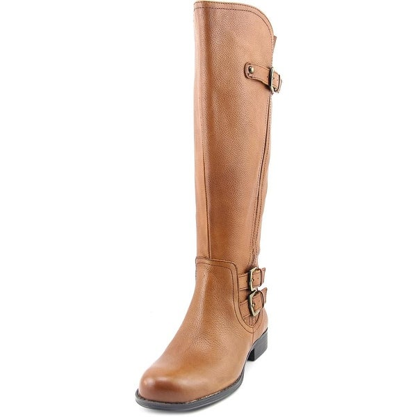 Naturalizer Jenson Wide Calf Women Round Toe Leather Brown Knee High Boot