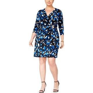 Calvin Klein Womens Wear to Work Dress Printed Faux Wrap