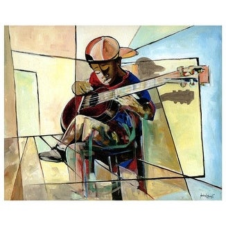 ''The Little Musician'' by Nathaniel Barnes African American Art Print (22 x 27 in.)