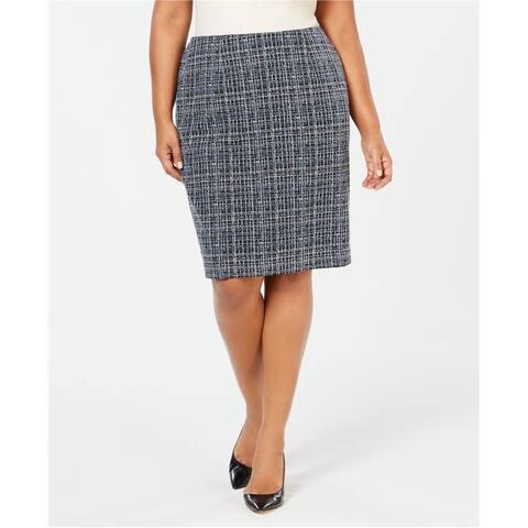 Kasper Womens Textured Pencil Skirt, Blue, 16W