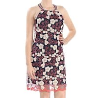 LAUNDRY Womens Navy Floral Sleeveless Jewel Neck Above The Knee Sheath Dress  Size: 10
