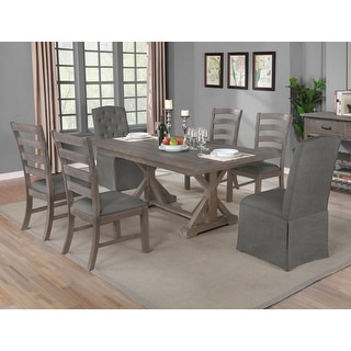 Overstockbest Quality Furniture Rustic Grey Dining Set W Skirted Side Chairs 1 Table With 6 Chairs Dark Grey Dailymail
