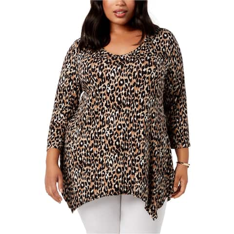 JM Collection Womens Animal Print Pullover Blouse, brown, 1X