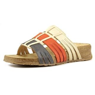 Haflinger Pandora Women Open Toe Leather Multi Color Slides Sandal