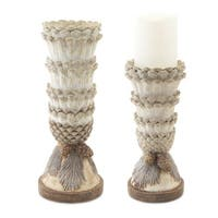 "Set of 2 Elegant Pine Cone Christmas Candle Holder Table Top Decoration 12"" - White"