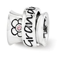 Sterling Silver Reflections Swarovski Elements Grandmother Spinner Bead (4mm Diameter Hole)