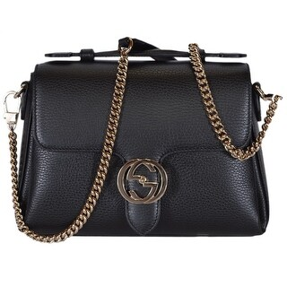 Gucci 510302 Black Leather Interlocking GG Clasp Convertible Purse Handbag