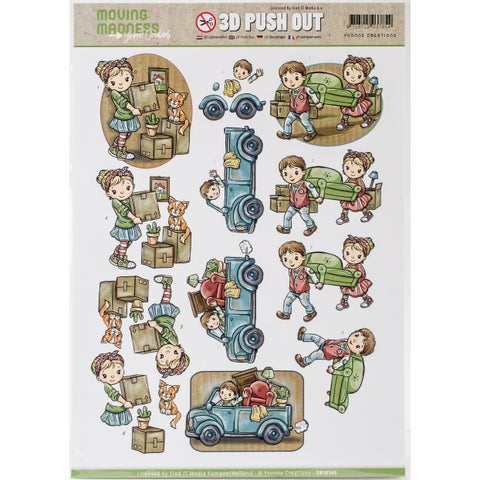 Find It Yvonne Creations Moving Madness Punchout Sheet-#3 Boxes, Moving Truck & Furniture
