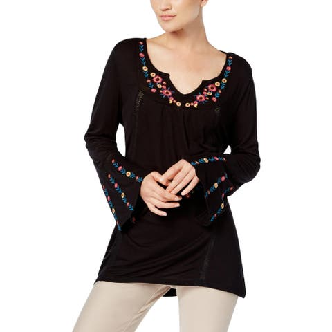 NY Collection Womens Blouse Embroidered Bell Sleeves