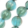 Czech Pressed Glass - Round Melon Beads 8mm Diameter 'Aquamarine Celsian' (25) - Thumbnail 0
