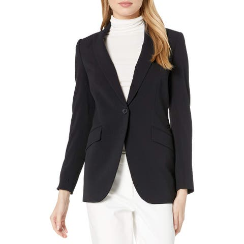Anne Klein Womens Blazer Jacket Black Size 6 Stretch Single Button