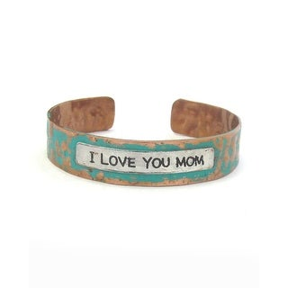 Message I Love You Mom Patina Metal Cuff Bracelet