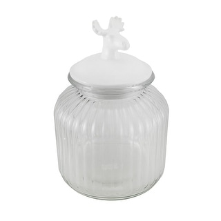 Decorative Clear Ribbed Glass Jar w/White Deer Head Lid 10 Inch
