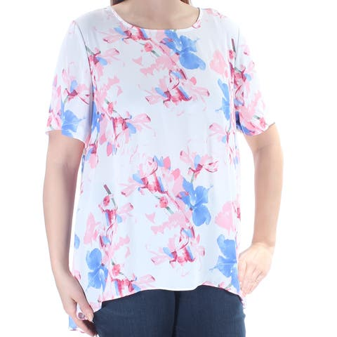 VINCE CAMUTO Womens Pink Sheer Floral Short Sleeve Jewel Neck Top Size: L