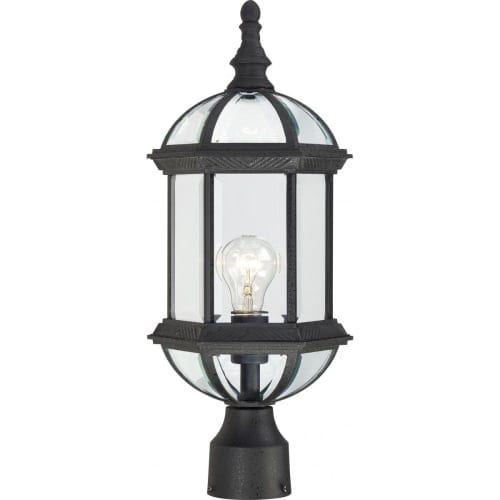 Nuvo Lighting 60/4976 Boxwood Single-Light Post Lantern with Clear Beveled Glass Panels