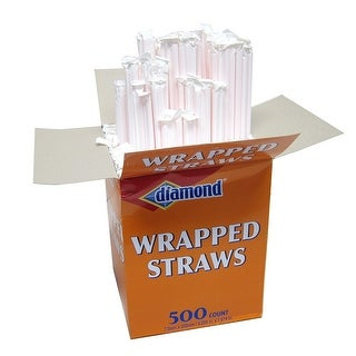 Diamond Individually Wrapped Drinking Straws, 500 Count, 7.87 Inches
