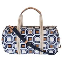 Tory Burch Women's Octagon Print Large Nylon Travel Duffel Purse Bag