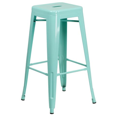 """30"""" High Backless Metal Indoor-Outdoor Barstool with Square Seat"""