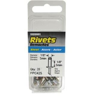 """FPC FPC42S Short Steel Rivet 1/8"""", 25/Pack"""