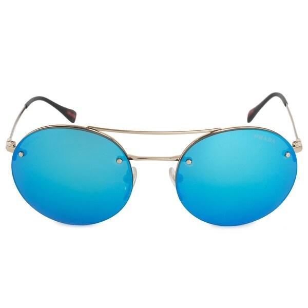 4805406d42c8b Shop Prada Linea Rossa Pilot Round Sunglasses PS54RS ZVN5M2 56 ...