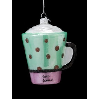 "3.5"" Coffee Break Noble Gems Glass Java Junkie Christmas Ornament"