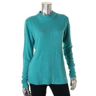 Karen Scott Womens Knit Mock Turtleneck Pullover Sweater