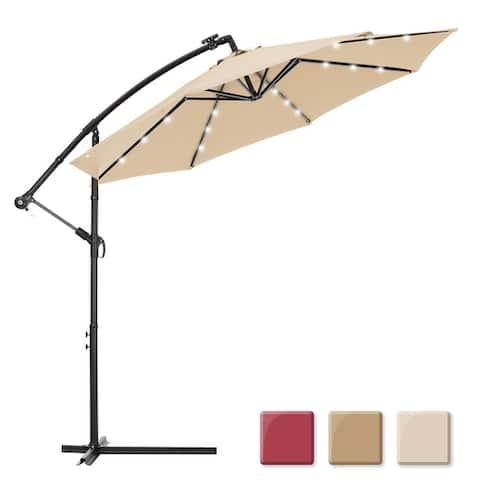 Nestfair 10 ft. Steel Market Tilt Patio Solar Umbrella LED with Crank