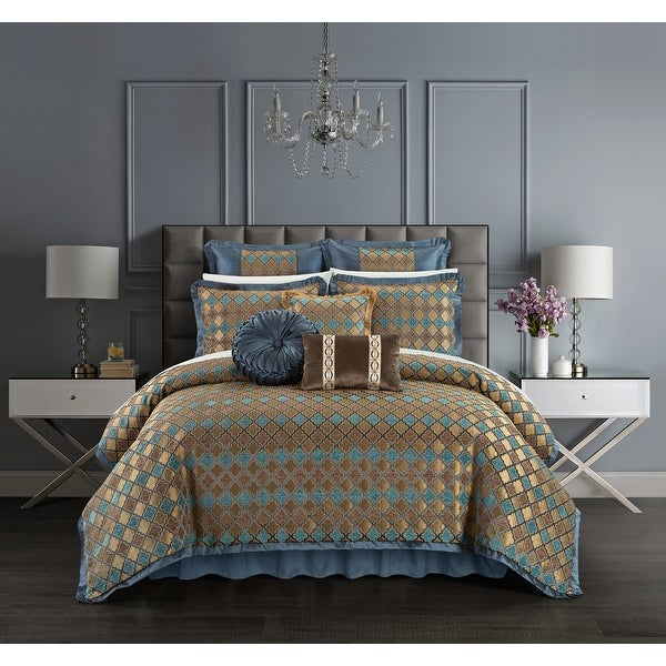 Chic Home Suelyn 9 Piece Chenille Design Comforter Set, Blue. Opens flyout.
