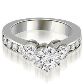 1.40 cttw. 14K White Gold Bezel Set Round Cut Diamond Engagement Ring
