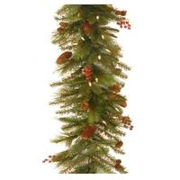 6' Pre-Lit Artificial Christmas Garland - Soft White LED Lights - RED