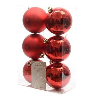 6 Luxury Shatterproof Christmas Baubles Decorations 80mm - Christmas Red