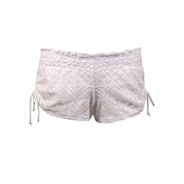 fa00fe845b Shop Miken Women's Ruched Tie Lace Swim Cover Up Shorts (L, White) - White  - L - On Sale - Free Shipping On Orders Over $45 - Overstock - 16655852