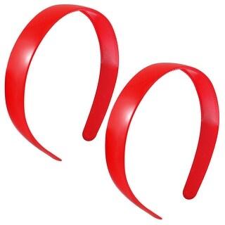 """2 Pcs 1"""" Width Plastic Frame Dual Row Tooth Red Hair Hoop"""