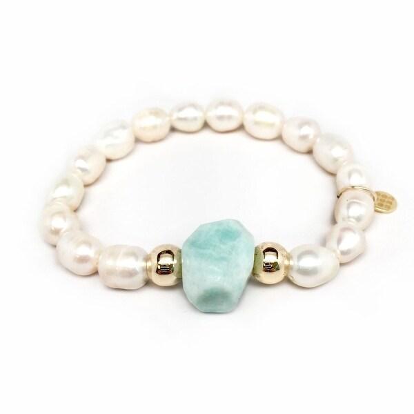"Freshwater Pearl & Aqua Aventurine Rock Candy 7"" Bracelet"