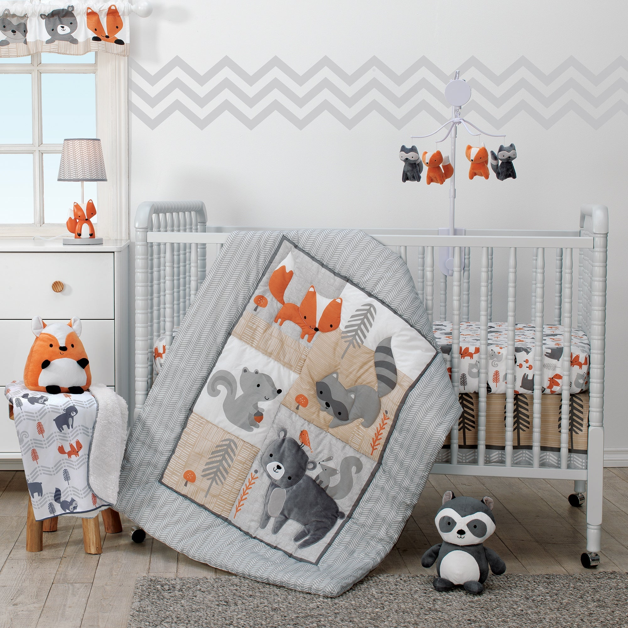 Bedtime Originals Acorn Gray Beige White Orange Woodland Fox Rac Squirrel Bear 3 Piece Baby Nursery Crib Bedding Set
